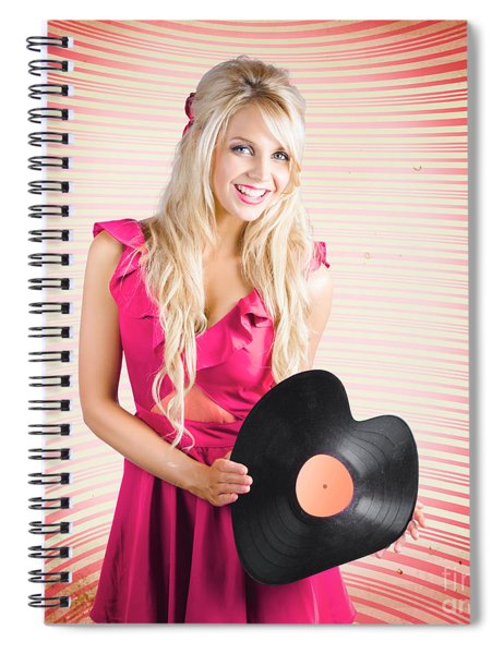 Smiling Dj Woman In Love With Retro Music Spiral Notebook