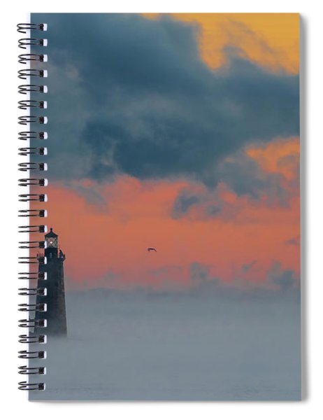 Smokey Sunrise At Ram Island Ledge Light Spiral Notebook