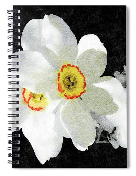 Smokey White Floral Spiral Notebook