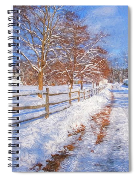 Snow And Fence Spiral Notebook