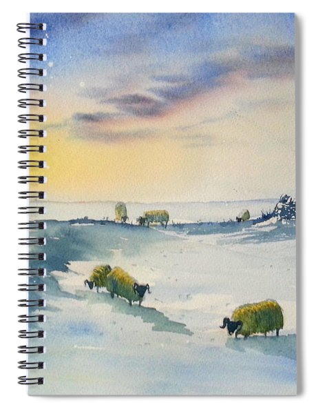 Snow And Sheep On The Moors Spiral Notebook