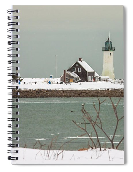 Snow At Scituate Lighthouse Spiral Notebook