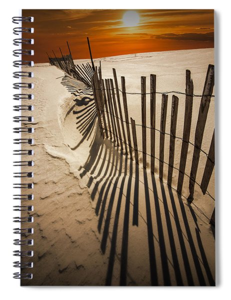 Snow Fence At Sunset Spiral Notebook