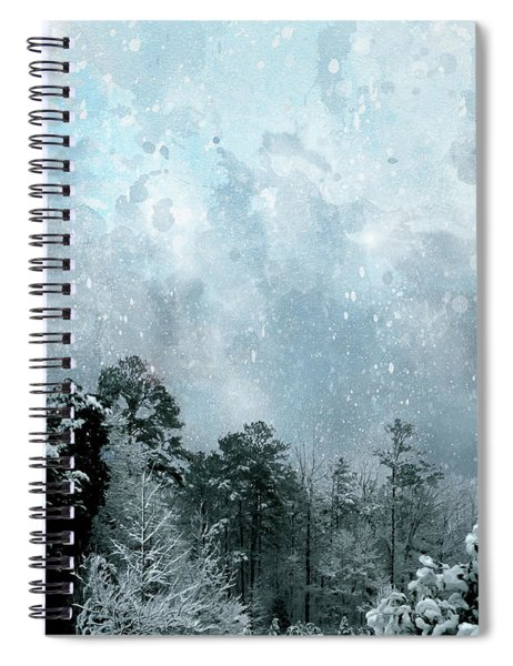 Spiral Notebook featuring the digital art Snowfall by Gina Harrison