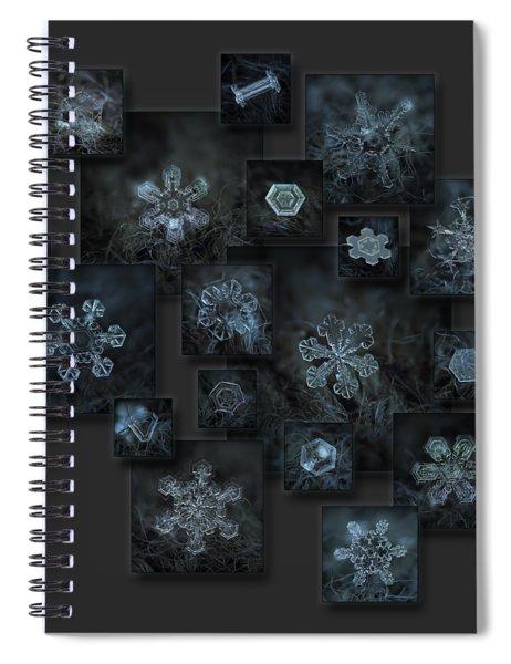 Snowflake Collage - Dark Crystals 2012-2014 Spiral Notebook