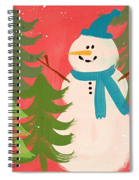 Snowman In Blue Hat- Art By Linda Woods Spiral Notebook
