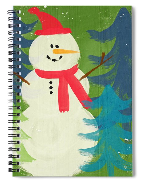 Snowman In Red Hat-art By Linda Woods Spiral Notebook