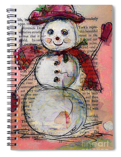 Snowman With Red Hat And Mistletoe Spiral Notebook