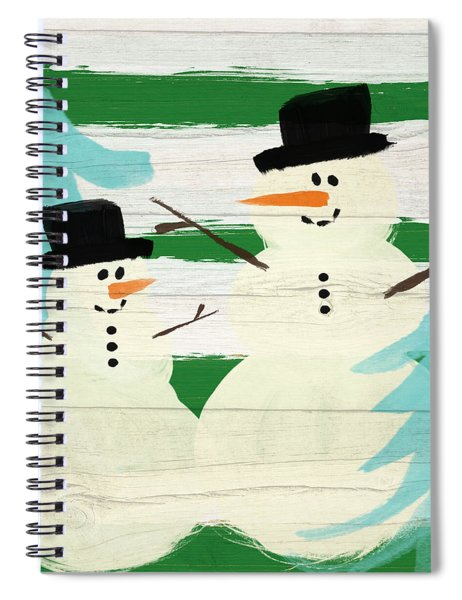 Snowmen With Blue Trees- Art By Linda Woods Spiral Notebook