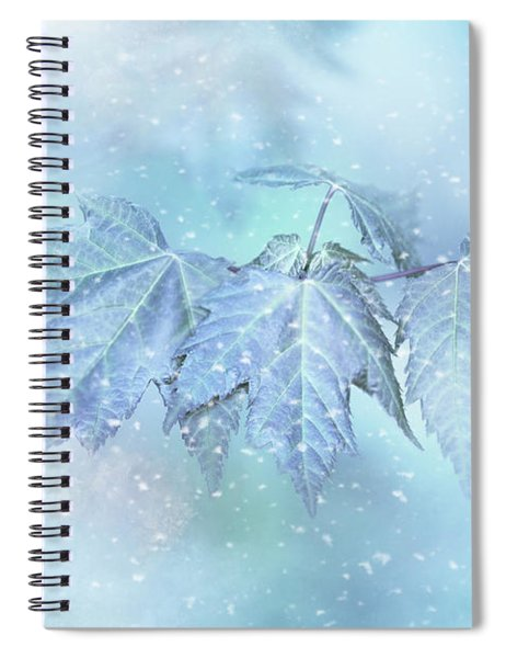 Snowy Baby Leaves Spiral Notebook