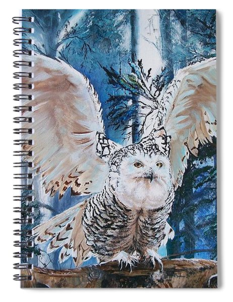 Snowy Owl On Takeoff  Spiral Notebook