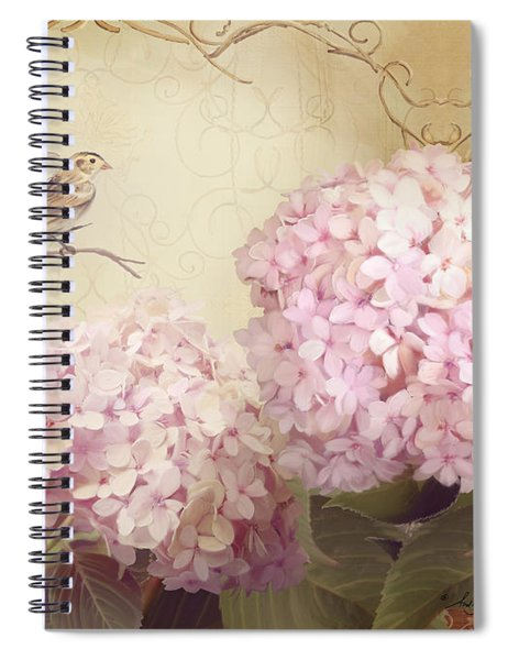 Softly Summer - Carolina Wrens W Blush Pink Hydrangeas Spiral Notebook