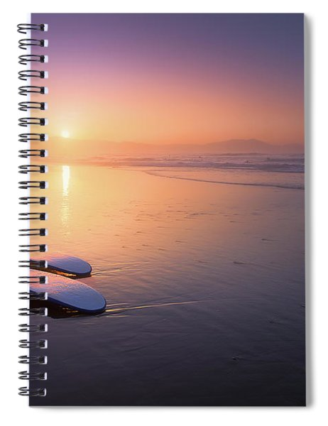 Sopelana Beach With Surfboards On The Shore Spiral Notebook
