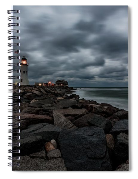 Stormy Clouds Over Old Scituate Lighthouse In The Early Morning Spiral Notebook