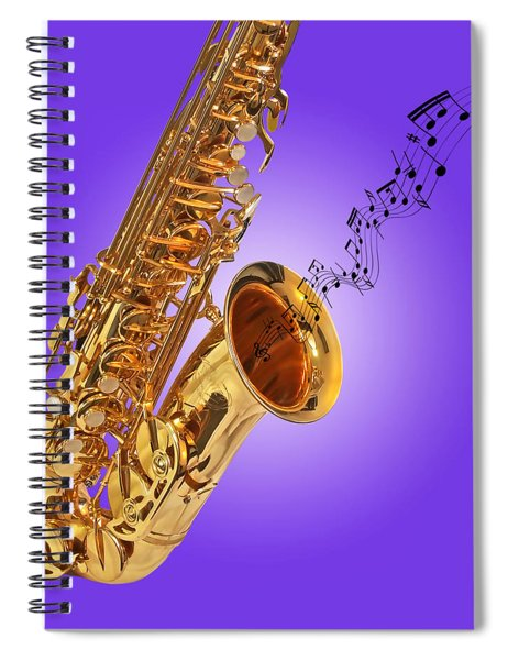 Sounds Of The Sax In Purple Spiral Notebook