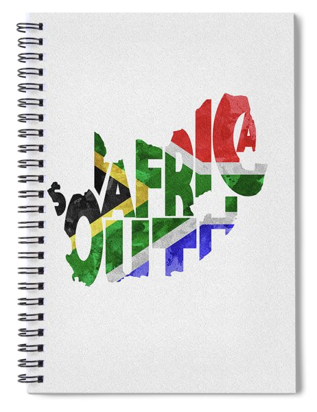 South Africa Typographic Map Flag Spiral Notebook
