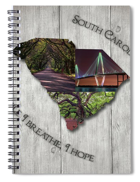 South Carolina State Map Collage Spiral Notebook