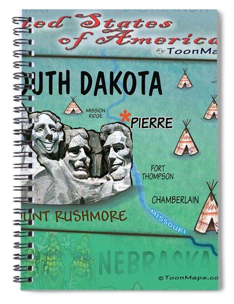 South Dakota Fun Map Spiral Notebook