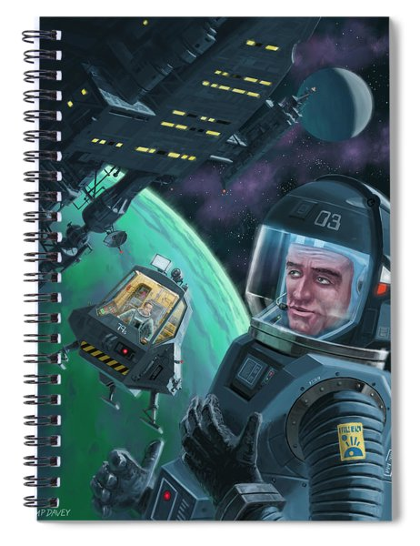 Spaceman With Space Station Orbiting Green Planet Spiral Notebook