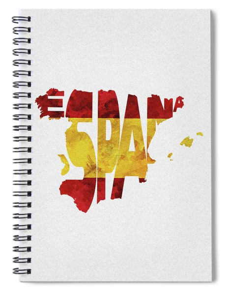 Spain Typographic Map Flag Spiral Notebook