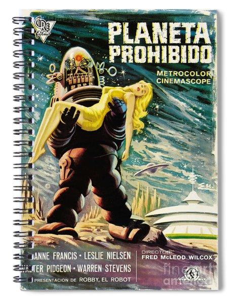 Spanish Version Of Forbidden Planet In Cinemascope Retro Classic Movie Poster Spiral Notebook