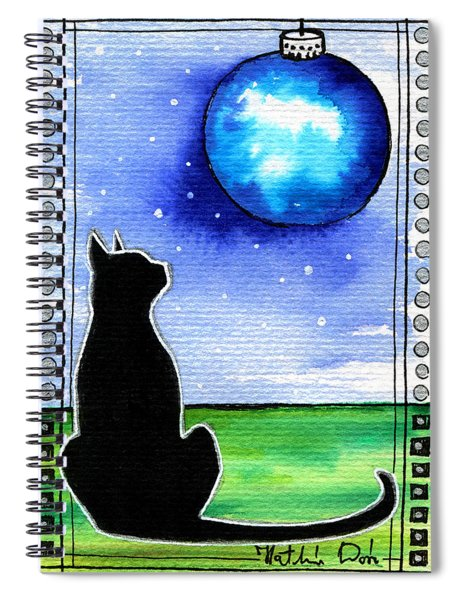 Sparkling Blue Bauble - Christmas Cat Spiral Notebook