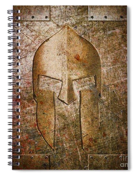 Spartan Helmet On Metal Sheet With Copper Hue Spiral Notebook