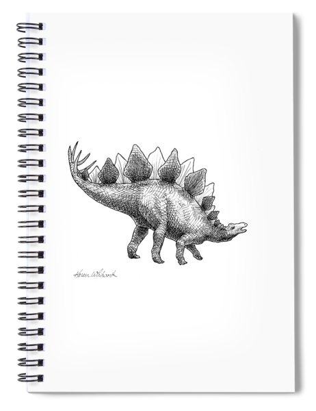 Stegosaurus - Dinosaur Decor - Black And White Dino Drawing Spiral Notebook