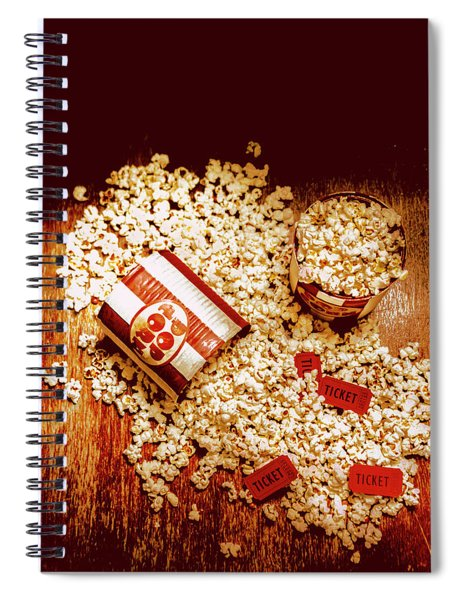 Spilt Tubs Of Popcorn And Movie Tickets Spiral Notebook