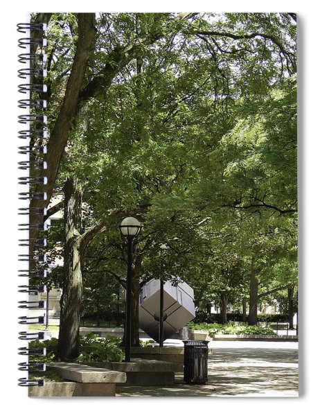 Spinning Cube On Campus Spiral Notebook