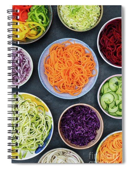 Spiral Notebook featuring the photograph Spiralized Vegetables In Bowls by Tim Gainey