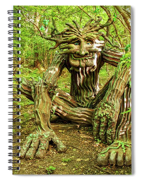 Spirit Of The Woods Sitting In Forest Dappled With Sun And Shade Spiral Notebook