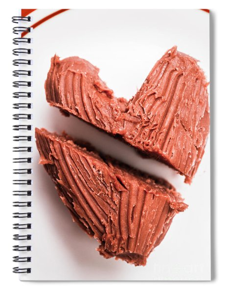 Split Hearts Chocolate Fudge On White Plate Spiral Notebook