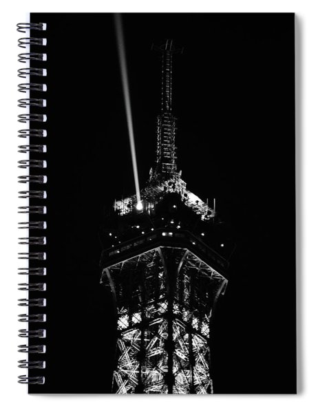 Spotlight Extending From Top Of Illuminated Night View Of Eiffel Tower Paris France Black And White Spiral Notebook
