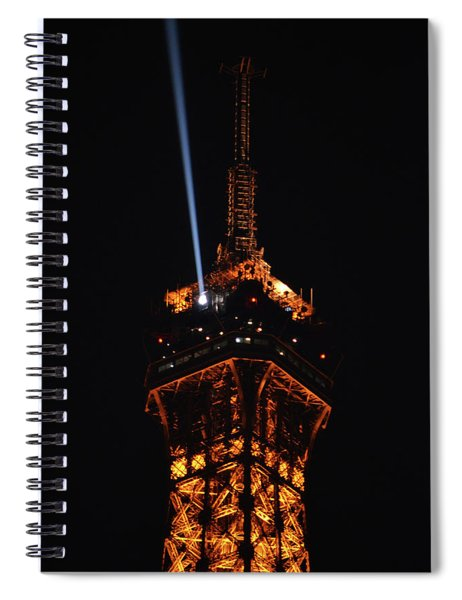 Spotlight Extending From Top Of Illuminated Night View Of Eiffel Tower Paris France Spiral Notebook