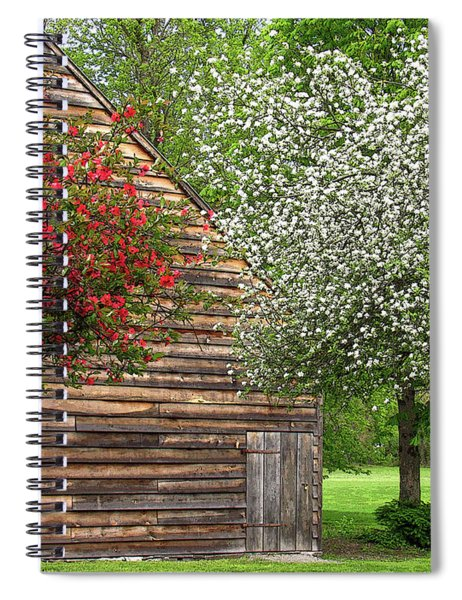 Spring Flowers And The Barn Spiral Notebook