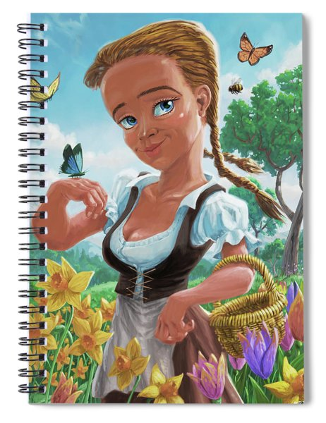 Spiral Notebook featuring the digital art Spring Girl by Martin Davey