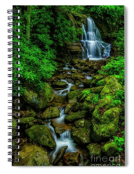 Spring Green Waterfall And Rhododendron Spiral Notebook