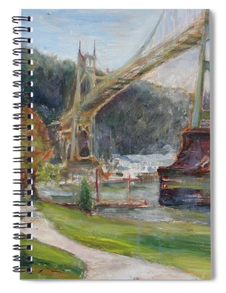 Spring In Cathedral Park - Original Contemporary Impressionist Painting Spiral Notebook