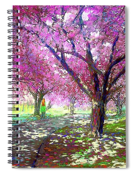 Spring Rhapsody, Happiness And Cherry Blossom Trees Spiral Notebook