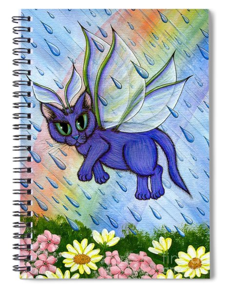 Spring Showers Fairy Cat Spiral Notebook