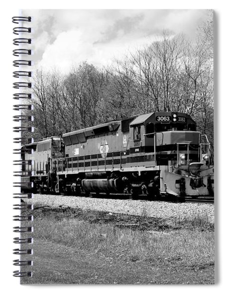 Sprintime Train In Black And White Spiral Notebook