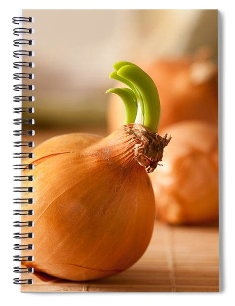 Sprouting Onion Lying On Mat Spiral Notebook