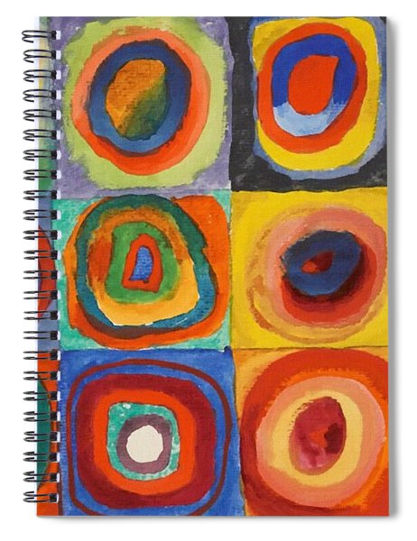 Squares With Concentric Circles Spiral Notebook