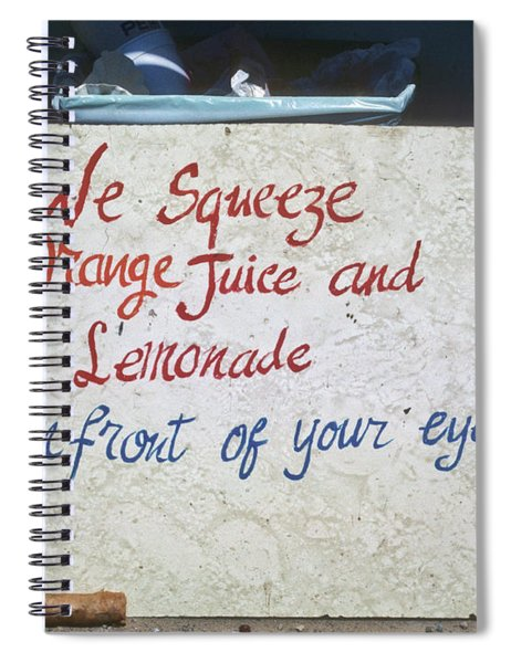 Squeezed Juice Sign Spiral Notebook