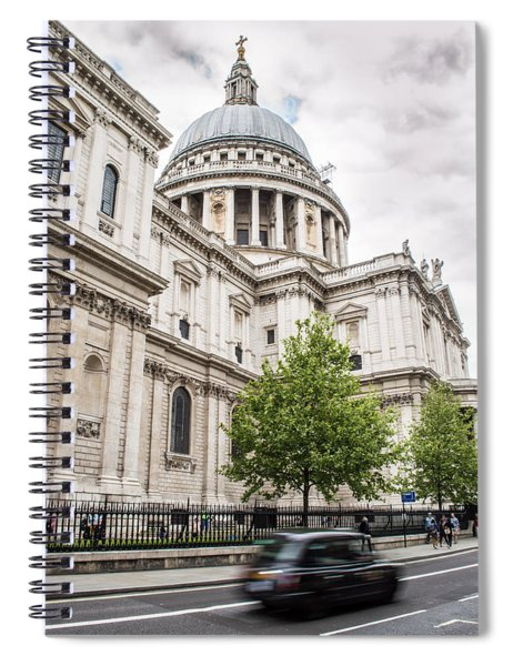 St Pauls Cathedral With Black Taxi Spiral Notebook