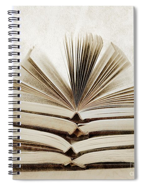 Stack Of Open Books Spiral Notebook