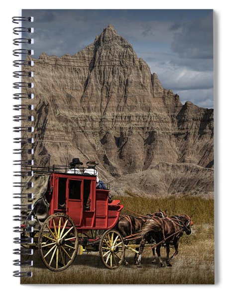 Stage Coach In The Badlands Spiral Notebook