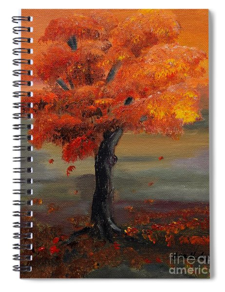 Spiral Notebook featuring the painting Stand Alone In Color - Autumn - Tree by Jan Dappen