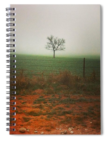 Standing Alone, A Lone Tree In The Fog. Spiral Notebook